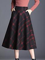 Недорогие -женские юбки миди-лайн - цветочные