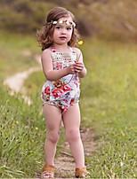 Недорогие -малыш Девочки Уличный стиль Повседневные Цветочный принт Без рукавов Полиэстер Bodysuit Белый