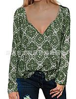 Недорогие -узкая женская блузка азиатского размера - геометрическая / однотонная с v-образным вырезом