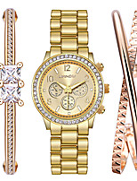 Недорогие -Жен. Часы-браслет Наручные часы Кварцевый Нержавеющая сталь Золотистый Защита от влаги Повседневные часы Крупный циферблат Аналоговый Кольцеобразный Мода - Золотистый