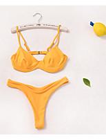 Недорогие -Жен. Белый Оранжевый Смелые Танкини Купальники - Однотонный S M L