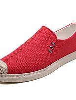 Недорогие -Муж. Комфортная обувь Лён Весна На каждый день Мокасины и Свитер Дышащий Черный / Бежевый / Красный