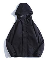 Недорогие -Муж. Повседневные Осень Обычная Куртка, Однотонный Капюшон Длинный рукав Хлопок / Полиэстер Зеленый / Черный / Серый L / XL / XXL