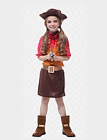 Недорогие -Westworld Вест Ковбой Ковбойские костюмы Детские Девочки Инвентарь Рождество Хэллоуин Карнавал Фестиваль / праздник Полиэстер Кофейный Карнавальные костюмы Горошек