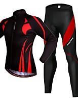 Недорогие -WOSAWE Муж. Велокуртка и брюки - Черный / красный Велоспорт Наборы одежды 3D-панель Со светоотражающими полосками Виды спорта силикон Эластан Горные велосипеды Шоссейные велосипеды Одежда