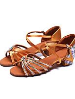 Недорогие -Жен. Обувь для латины Сатин На каблуках Лак / Пряжки / Кристаллы Толстая каблук Персонализируемая Танцевальная обувь Коричневый