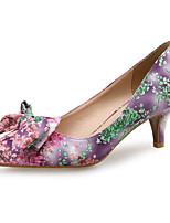 Недорогие -Жен. Полотно Весна лето Милая Обувь на каблуках На шпильке Заостренный носок Бант Светло-лиловый / Светло-Зеленый