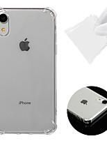 Недорогие -Кейс для Назначение Apple iPhone XR Защита от удара / Прозрачный Кейс на заднюю панель Однотонный Мягкий ТПУ для iPhone XR