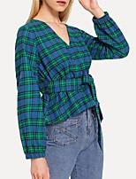 Недорогие -Жен. Офис Рубашка Хлопок, Глубокий V-образный вырез Тонкие Полоски