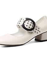 Недорогие -Жен. Наппа Leather Осень Милая / Минимализм Обувь на каблуках На толстом каблуке Квадратный носок Стразы Черный / Бежевый