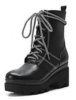 Недорогие -Жен. Наппа Leather / Полиуретан Наступила зима На каждый день / Минимализм Ботинки На толстом каблуке Заостренный носок Ботинки Белый / Черный