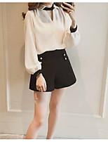 Недорогие -женская рубашка азиатского размера - цвет блока шею