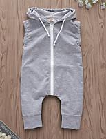 Недорогие -малыш Девочки Уличный стиль Повседневные Однотонный Без рукавов Полиэстер 1 предмет Серый