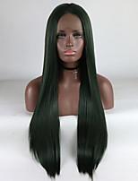 Недорогие -Синтетические кружевные передние парики Прямой Черный Средняя часть Зеленый 180% Человека Плотность волос Искусственные волосы 18-26 дюймовый Жен. Регулируется / Кружева / Жаропрочная / Лента спереди