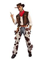 Недорогие -Westworld Вест Ковбой Ковбойские костюмы Взрослые Муж. Инвентарь Рождество Хэллоуин Карнавал Фестиваль / праздник Полиэстер Кофейный Карнавальные костюмы Рисунок