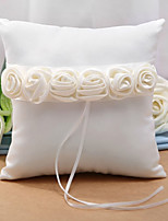 abordables -Comme Soie Satin Fleur en Satin Satin Oreiller d'anneau Mariage Toutes les Saisons