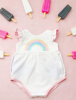 Недорогие -малыш Девочки Уличный стиль Повседневные С принтом Без рукавов Полиэстер Bodysuit Белый