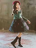 Недорогие -Дети Девочки Панк & Готика Однотонный Длинный рукав Платье Зеленый