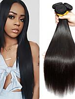Недорогие -3 Связки Бразильские волосы Монгольские волосы Прямой Не подвергавшиеся окрашиванию человеческие волосы Remy Подарки Косплей Костюмы Головные уборы 8-28 дюймовый Естественный цвет