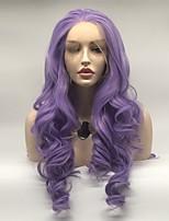 Недорогие -Синтетические кружевные передние парики Волнистые Фиолетовый Стрижка каскад Фиолетовый 130% Человека Плотность волос Искусственные волосы 24 дюймовый Жен. Женский Фиолетовый Парик Длинные