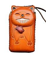 Недорогие -Жен. Мешки Воловья кожа Мобильный телефон сумка Животное Коричневый