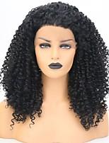 Недорогие -Синтетические кружевные передние парики Глубокий курчавый Черный Свободная часть Черный Искусственные волосы 18 дюймовый Жен. Классический / Женский / синтетический Черный Парик Средняя длина / Да