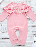 Недорогие -малыш Девочки Уличный стиль Повседневные Однотонный Длинный рукав Полиэстер 1 предмет Розовый