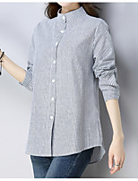 Недорогие -женская рабочая рубашка азиатского размера - полосатый шею