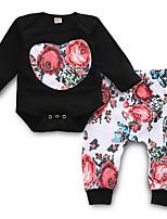 Недорогие -малыш Девочки Уличный стиль Повседневные Цветочный принт Длинный рукав Обычный Полиэстер Набор одежды Черный