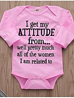 Недорогие -малыш Девочки Уличный стиль Повседневные С принтом Длинный рукав Полиэстер Bodysuit Розовый