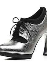 Недорогие -Жен. Наппа Leather Осень Милая / Минимализм Ботинки На шпильке Заостренный носок Ботинки Черный / Серебряный