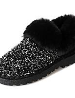 Недорогие -Жен. Искусственный мех / Полиуретан Зима На каждый день Ботинки На плоской подошве Круглый носок Ботинки Черный / Хаки
