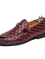 Недорогие -Муж. Официальная обувь Кожа Весна лето / Наступила зима Английский Мокасины и Свитер Нескользкий Черный / Белый / Красный