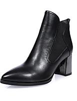 Недорогие -Жен. Наппа Leather Осень Ботинки На толстом каблуке Черный