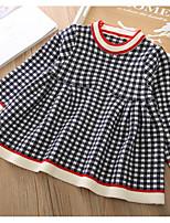 Недорогие -Дети Девочки Классический Шахматка Длинный рукав Платье Красный
