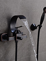 Недорогие -Ванная раковина кран - Водопад черный По центру Одной ручкой Два отверстияBath Taps