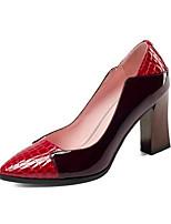 Недорогие -Жен. Наппа Leather Весна Обувь на каблуках На толстом каблуке Черный / Вино