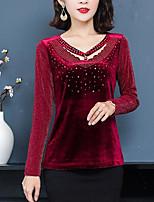 Недорогие -узкая блузка азиатского размера - сплошного цвета с V-образным вырезом