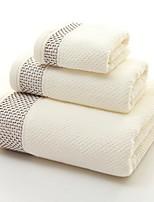 Недорогие -Высшее качество Набор банных полотенец, Однотонный Полиэстер / хлопок Ванная комната 3 pcs