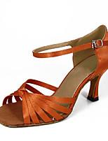 Недорогие -Жен. Обувь для латины Сатин На каблуках Пряжки Тонкий высокий каблук Танцевальная обувь Оранжевый