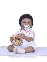 Недорогие -NPKCOLLECTION Куклы реборн Кукла для девочек Девочки 24 дюймовый Новорожденный Подарок Искусственная имплантация Коричневые глаза Детские Девочки Игрушки Подарок