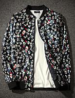 Недорогие -Муж. Повседневные Уличный стиль Наступила зима Обычная Куртка, Геометрический принт V-образный вырез Длинный рукав Полиэстер Зеленый / Черный L / XL / XXL