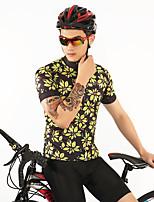 Недорогие -FirtySnow Муж. С короткими рукавами Велокофты - Черный / желтый Цветочные / ботанический Велоспорт Джерси Дышащий Быстровысыхающий Виды спорта Полиэстер Горные велосипеды Шоссейные велосипеды Одежда