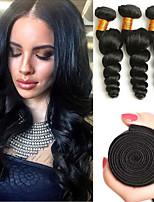 Недорогие -3 Связки Бразильские волосы Свободные волны Не подвергавшиеся окрашиванию Головные уборы Человека ткет Волосы Уход за волосами 8-28 дюймовый Естественный цвет Ткет человеческих волос