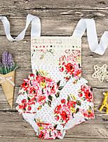 Недорогие -малыш Девочки Активный Повседневные Цветочный принт Без рукавов Полиэстер 1 предмет Красный