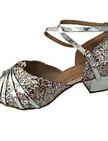 Недорогие -Жен. Обувь для латины Полиуретан На каблуках Лак Толстая каблук Танцевальная обувь Серебряный / Розовый