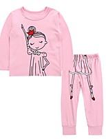 Недорогие -Дети / Дети (1-4 лет) Девочки Активный / Классический Повседневные Мультипликация С принтом Длинный рукав Обычный Обычная Хлопок Набор одежды Розовый