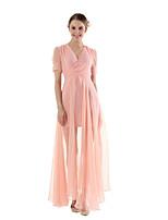 Недорогие -женское повседневное платье макси с узким вырезом с завышенной талией v шея розовый s m l xl
