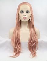 Недорогие -Синтетические кружевные передние парики переплетенный / Loose Curl Фиолетовый Стрижка каскад Розовое золото Фиолетовый 130% Человека Плотность волос Искусственные волосы 24 дюймовый Жен.