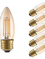 Недорогие -GMY® 6шт 3.5 W 300 lm E26 / E27 LED лампы накаливания B10 4 Светодиодные бусины COB Декоративная Янтарный 120 V